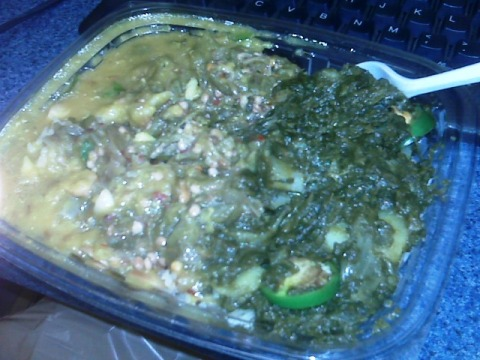 Best Vegetarian Lunch: Lentils, spinach and okra on Basmati