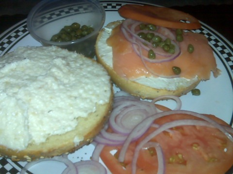Terrace Bagels Weekend Special: half whitefish salad, half Nova lox