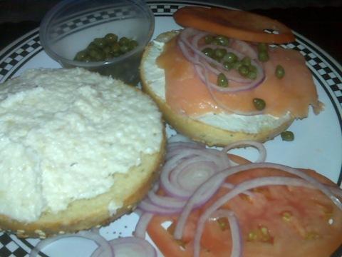 Terrace Bagels Weekend Special: half whitefish salad, half Nova lox