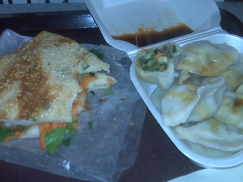 Vegetable dumplings and pork sesame pancake